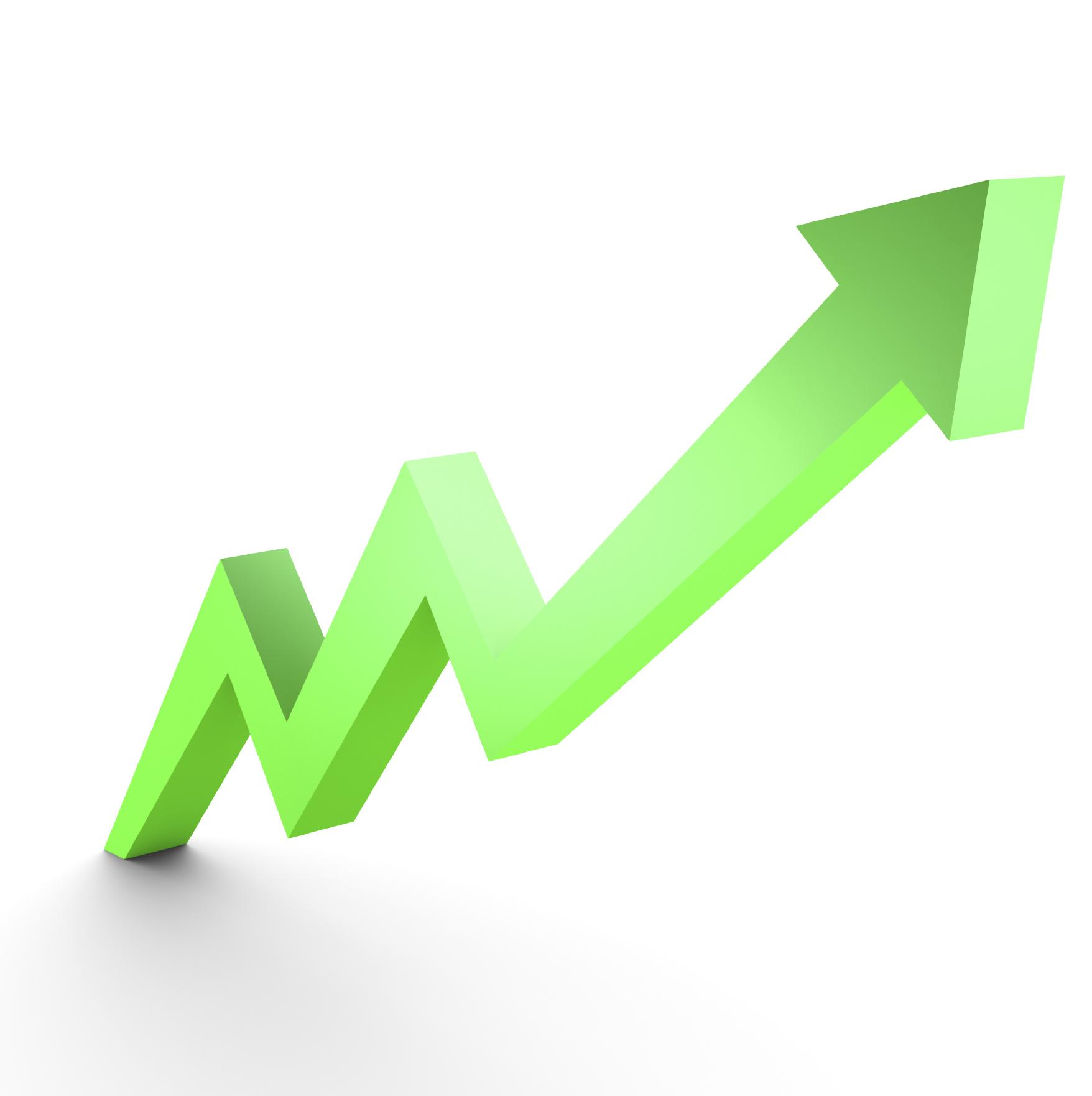 Business Graph, 3d rendered conceptual arrow chart